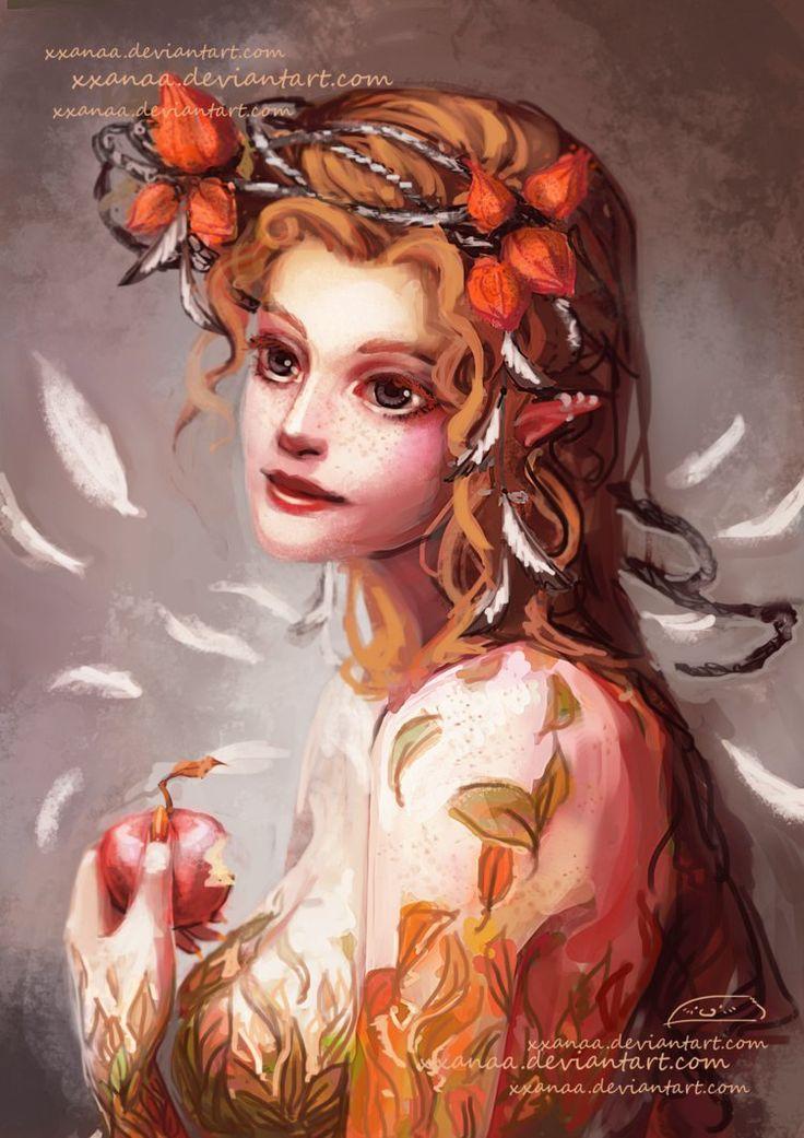 Autumn by XxanaA  #PolskaMalowana #sztuka #cyfrowa #digital #art #woman #kobieta #portret #portrait #jesień #autumn #fall #leaves #liście #jabłko #apple #fantasy #elf #Szortal