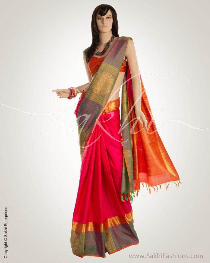 Pink & Multi Colour Pure Kanchi Silk Saree