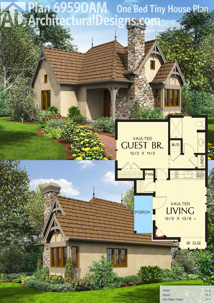 Architectural Designs Tiny House Plan 69590AM gives you 544 square feet of living with a living room, bed room and a bath. Ready when you are. Where do YOU want to build?