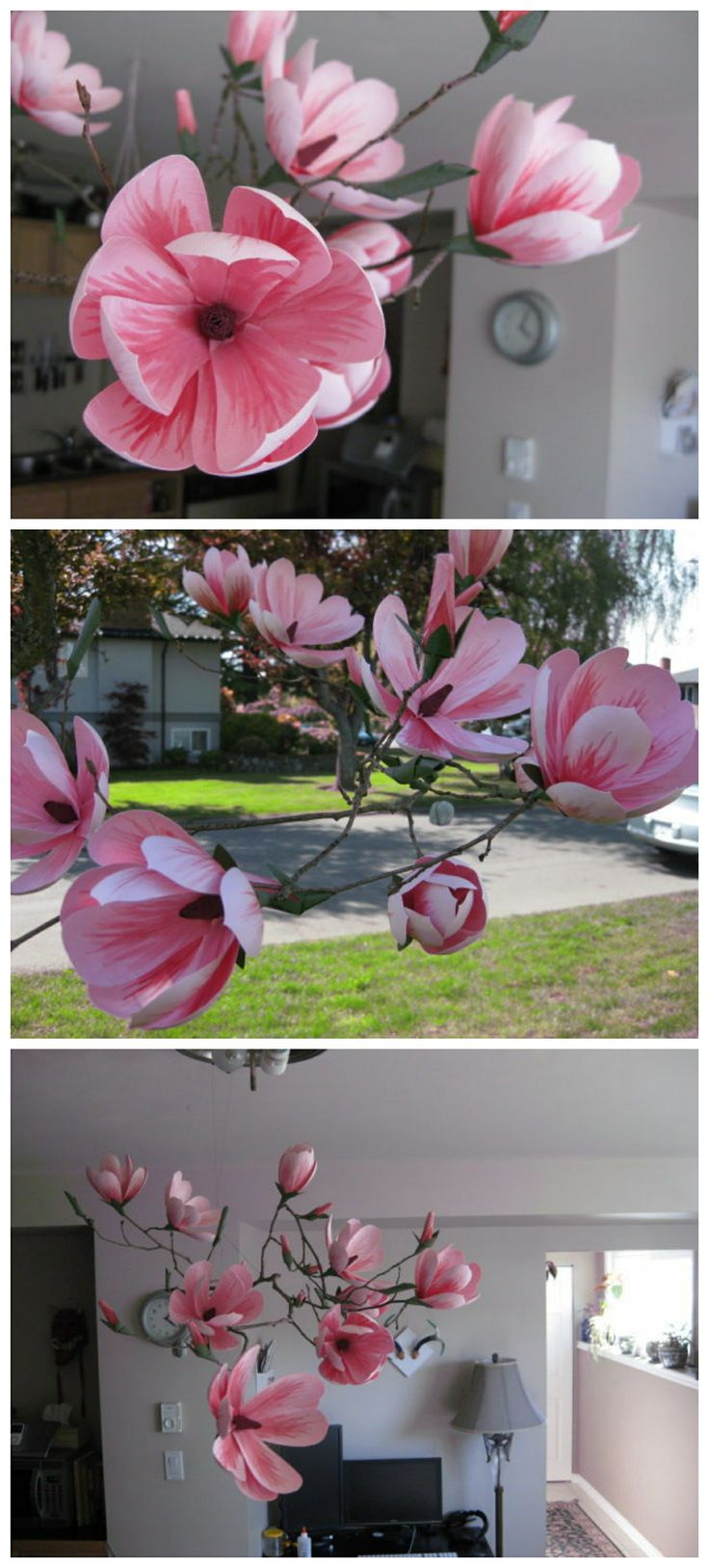 Paper Magnolia Mobile #paper_craft #decoration #flowers