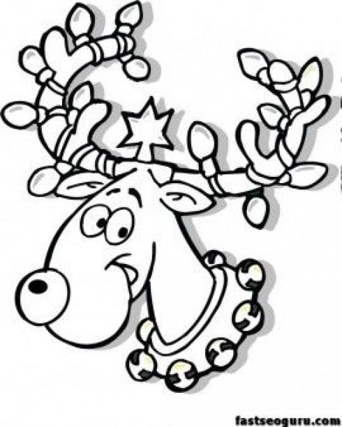 Free Christmas Reindeer in Lights coloring page for kids p