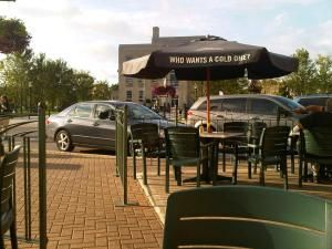 The patio at Paddy O'Neil's in downtown Goderich, Ontario.