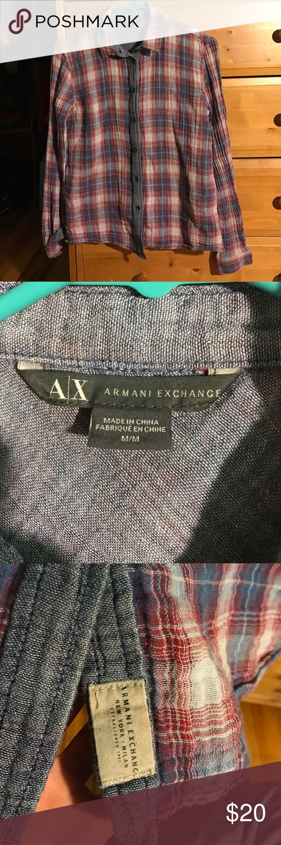 Armani Exchange Plaid Shirt 100% cotton plaid shirt. Denim like pattern inseam, which can be shown when cuffed. Fits small or medium. A/X Armani Exchange Tops Button Down Shirts