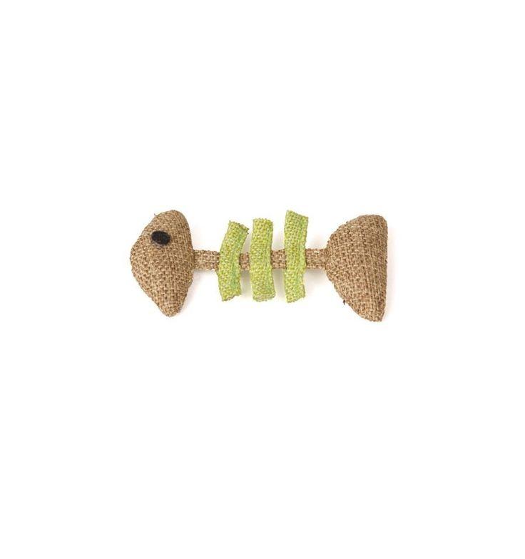 El juguete con forma de espina de pescado para gatos está hecho de yute, un material natural que es especialmente resistente. 10X5cm.