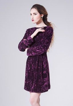 Vintage 80' s velour velvet mini dress
