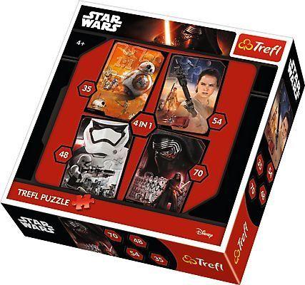 TREFL Puzzle pro děti 4v1 - Star Wars: Epizoda 7 (35,48,54,70 dílků)