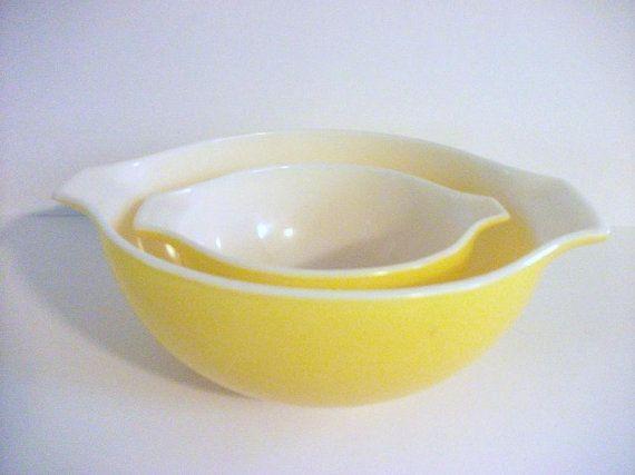 Vintage Yellow Pyrex Mixing Bolws on Etsy, $28.00