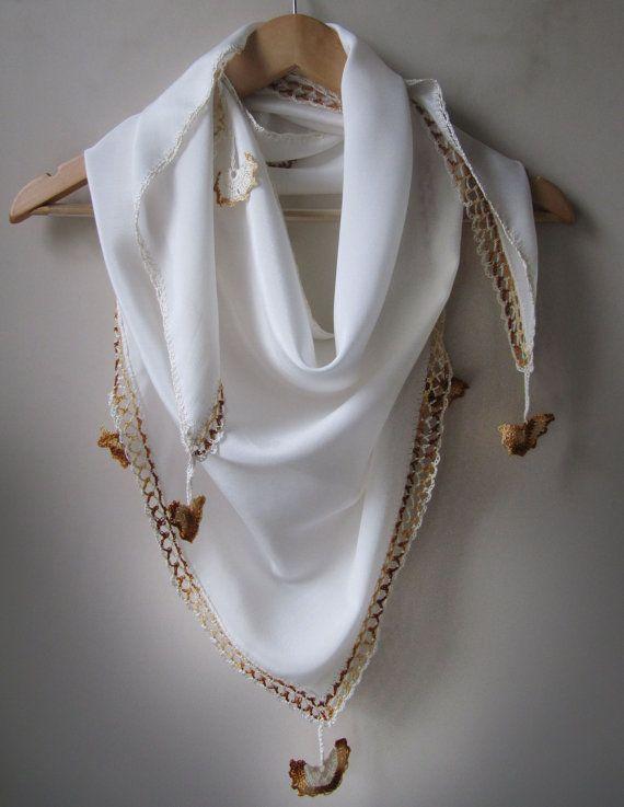 Cream silk scarf /Shawl by SEVILSBAZAAR on Etsy