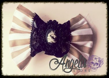 Gothic Lace and Unicorn Cameo Bow