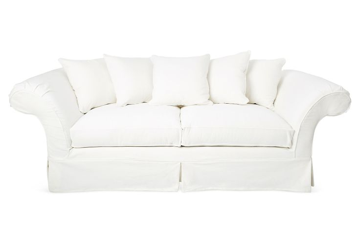 "One Kings Lane - Laid-Back Luxuries - Grace 97"" Sofa, White  Shabby Chic"