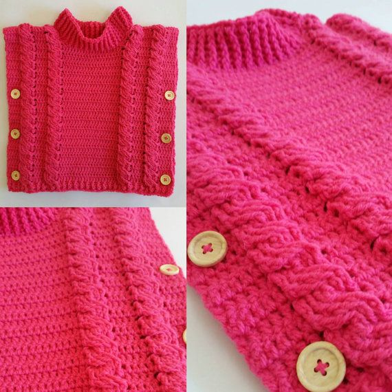 Cable pullover PDF crochet 3 years up