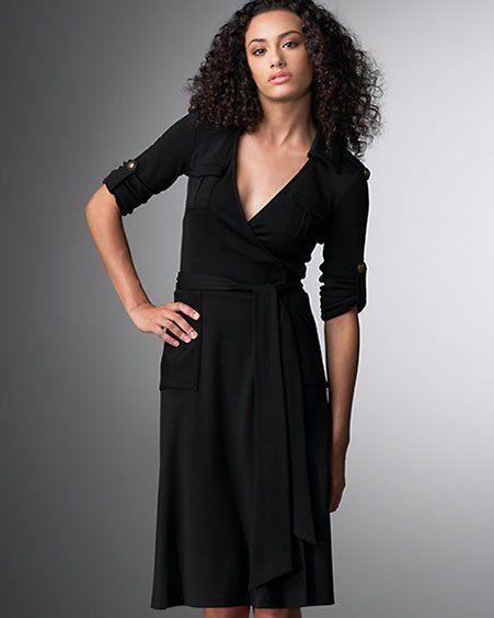 4288b360a81 Diane Von Furstenberg Black Utility wool wrap dress 10 NWT