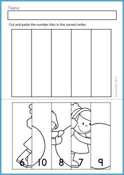 Math Worksheets & Activities - Winter (Beginning Skills). 43 pages. A page from the unit: Cut and paste number ordering (1-5, 6-10, skip counting by 5s 5-25, skip counting by 10s 10-50, skip counting by 2s 2-10).