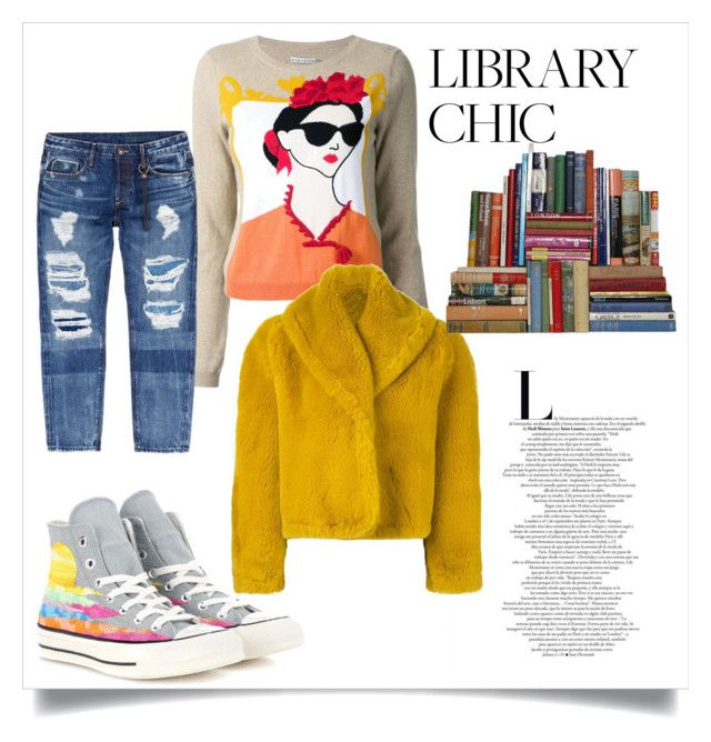 """""""Library Chic"""" by testybubble ❤ liked on Polyvore featuring Alice + Olivia, Tortoise, Converse and Jean-Paul Gaultier"""