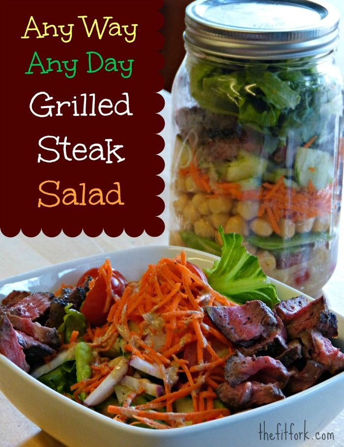 Any Way, Any Day Grilled Steak Salad -- this healthy entree salad recipe uses super lean top sirloin and the season's freshest ingredients. Pile up on a plate or carry for a work day lunch in a big mason jar. | thefitfork.com