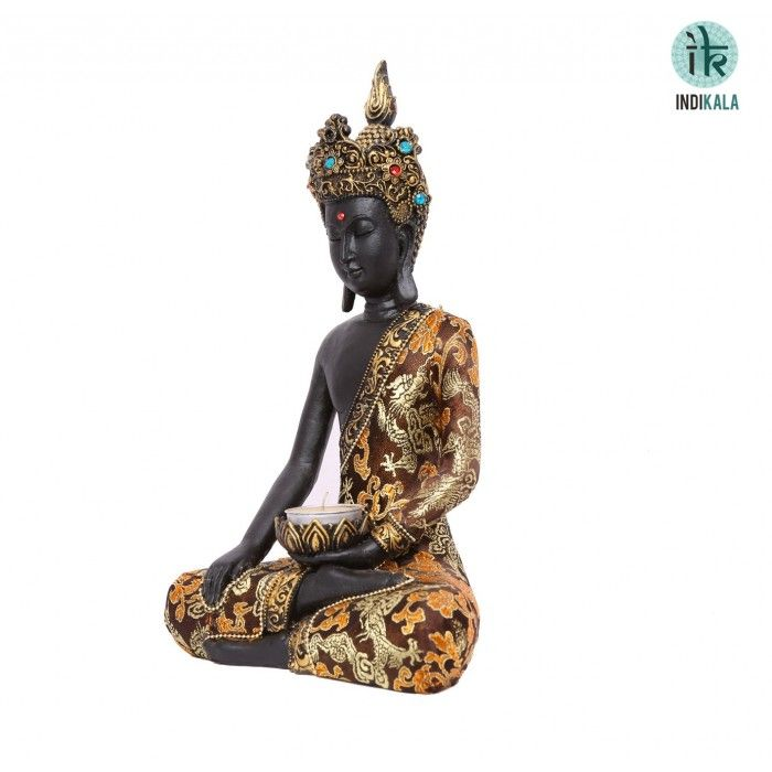 Name : Buddhist Figure with Crown Price : Rs 2,299 Buy Now at : http://www.indikala.com/new-additions/buddhist-figure-with-crown.html #Antiques #Idols #Figurines #Decor