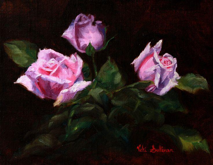 https://flic.kr/p/TQQoYZ | Fresh buds by Vicki Sullivan#oilonlinen#www.vickisullivan.com | Fresh buds#Roses#oilpainting#flowerpainting#Rose#Rosegarden#Stilllife#