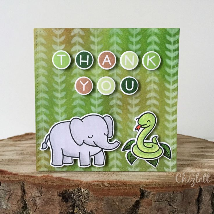 Lawn Fawn Critters in the Jungle thank you card