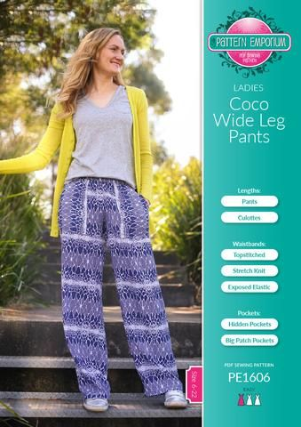 Ladies wide leg pants sewing pattern by Pattern Emporium