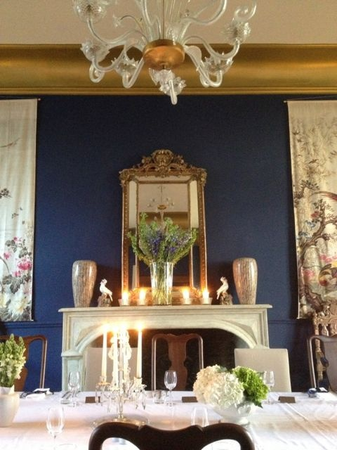 After our disaster in January, when the grand salon ceiling collapsed due to a boiler leak, comes the beautiful new Prussian Blue look!
