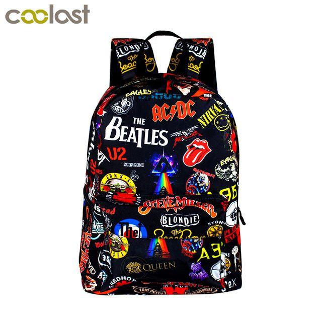Daily Deals $19.13, Buy Rock Band The Beatles / ACDC / Iron Maiden / Metallica Backpack Boys Girls Rucksack School Bags for Teenager Women Men Backpack