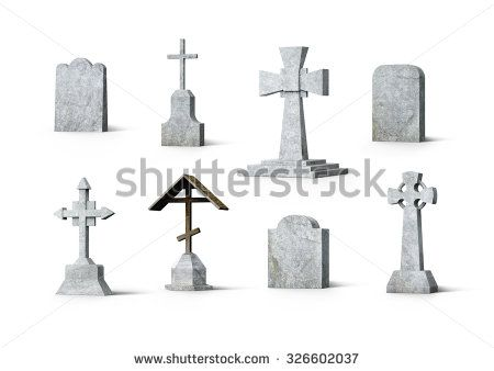 Cross Tombstone Drawing