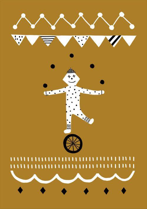Risograph postcards - Circus B/Gold