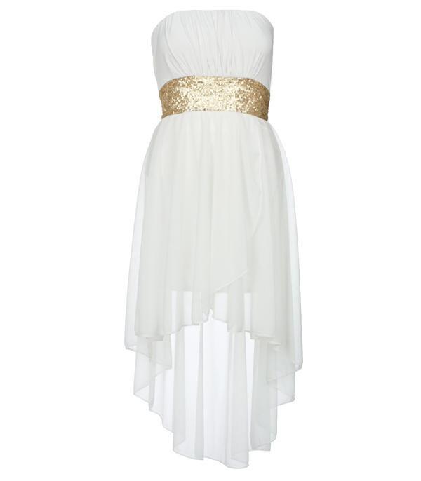 Cream Sequin Waist Mixi Dress - Clothing - desireclothing.co.uk