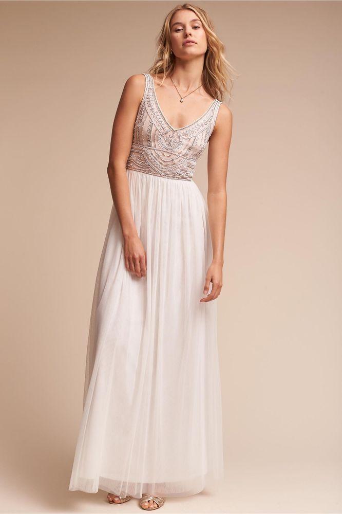 Bhldn Sterling Bridesmaid Wedding Dress Ivory Size 10 Fashion