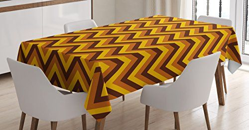 Yellow Chevron Tablecloth by Ambesonne, Chevron Pattern with Yellow and Brown Lines Classical Retro, Dining Room Kitchen Rectangular Table Cover, 60 W X 90 L Inches, Brown Light Brown Marigold