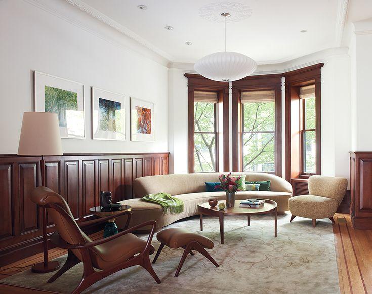 vladimir kagan sofa, brownstone, nelson bubble lamp