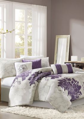 Madison Park  Lola Gray/Purple 7-Piece Queen Comforter Set 90-In. X 90-In. - Multi - Queen