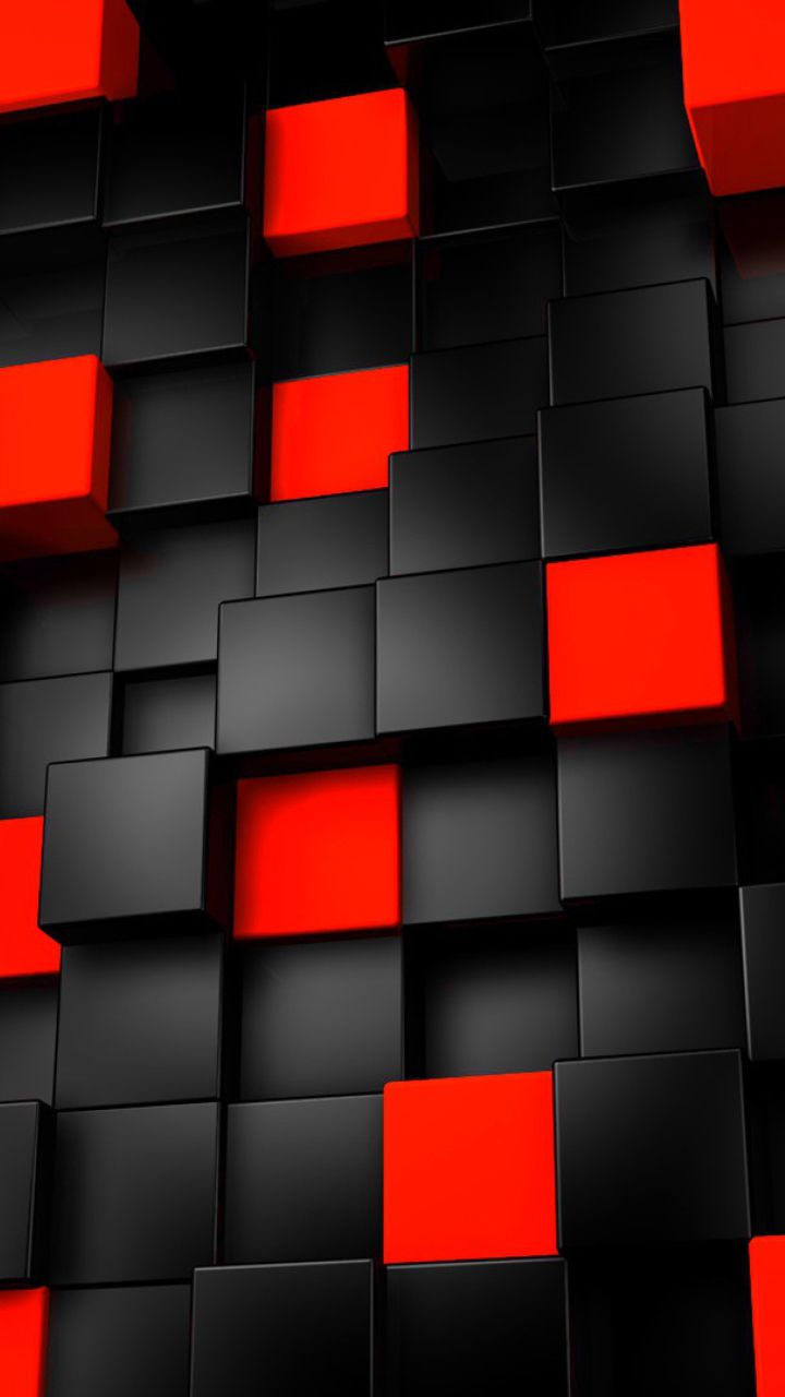 Black Red Cubes Pattern Mobile Wallpapers HD Phone