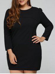 Three Quarter Sleeve Plus Size Mini Dress