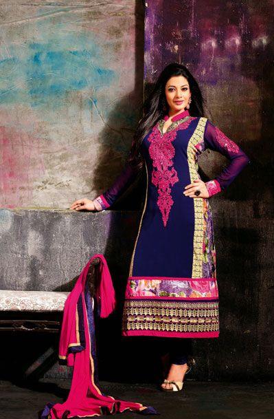 USD 56.3 Blue Faux Georgette Karachi Work Churidar Suit 37899