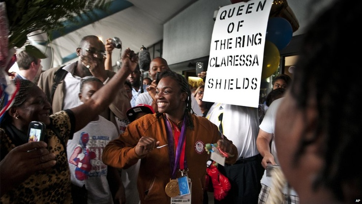 There were jubliant scenes at the Michigan airport where 17-year-old Claressa Shields, who won the USA's only boxing gold medal at the Games, claiming the middleweight title, arrived home.Next image