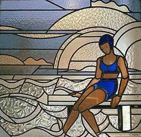Piscine Molitor : Détail d'un vitrail par les ateliers Louis Barillet