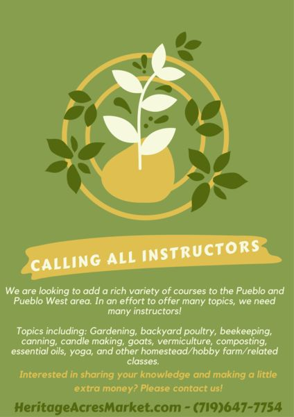 We are looking for instructors! We are hoping to add a rich variety of courses to the Pueblo and Pueblo West area. In an effort to offer many topics, we need