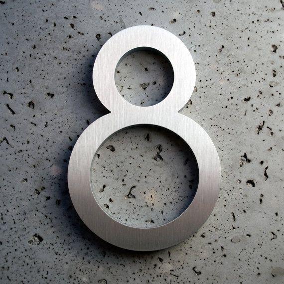 Modernes Haus Zahlen Aluminium moderne Schriften Nummer acht 8