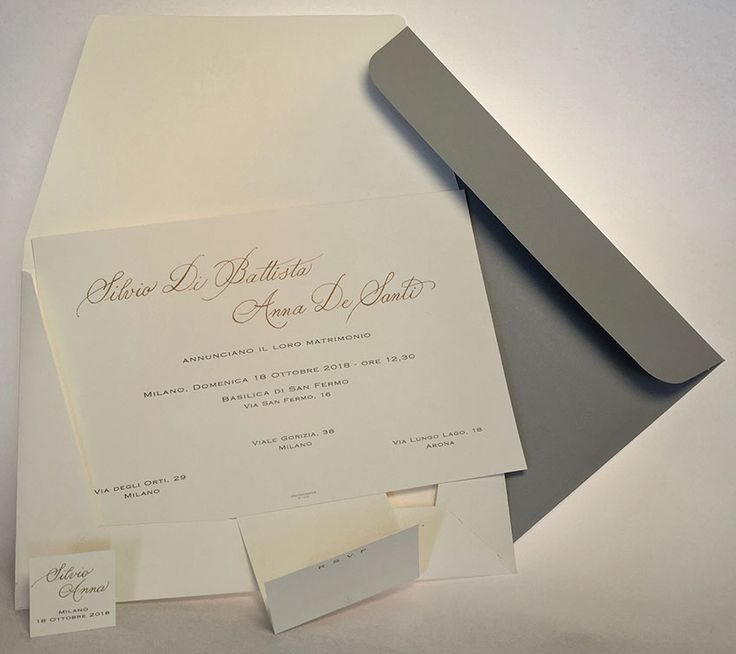 Timeless Sophistication. Creativity meets elegance. Majestic: Traditional wedding etiquette invitation by size and weight with the original pocket invitation. Handwriting by a calligrapher in gold or bronze plus extra fine print. Grafica AcquaViva Milano