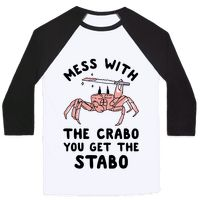 Don't mess with the crab unless you want to get stabbed. Show your love for this silly meme with this crab wielding a serrated stake knife design.