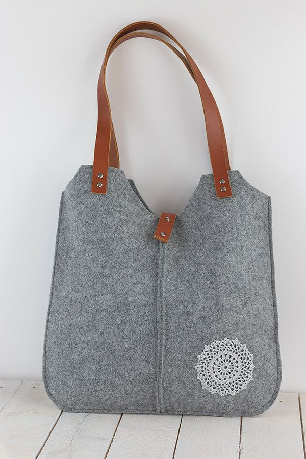 Gray felt tote bag, big, big size, for shopping, spring bag, genuine leather handles, tote bag, tote feltt by feltallovercom on Etsy