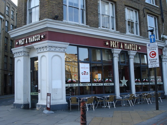 Pret a Manger London. You can find one on almost any corner - Quick and good.