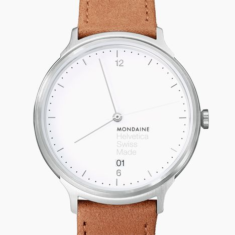 Mondaine Helvetica Light 38mm in brushed/brown