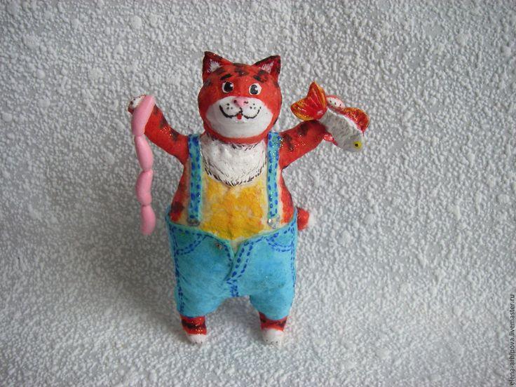 """Купить Ёлочная игрушка из ваты """"Счастливый кот"""" - комбинированный, рыжий кот, смешной кот"""