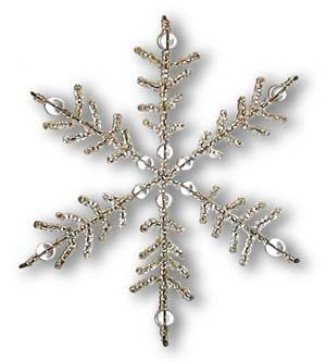 "Make an Ornament - Snowflake Branches: ""Crystal Palace."" Each branch is made separately using #6 seed beads and 28 qauge wire."