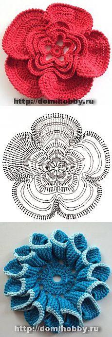 Оригинальные цветы крючком