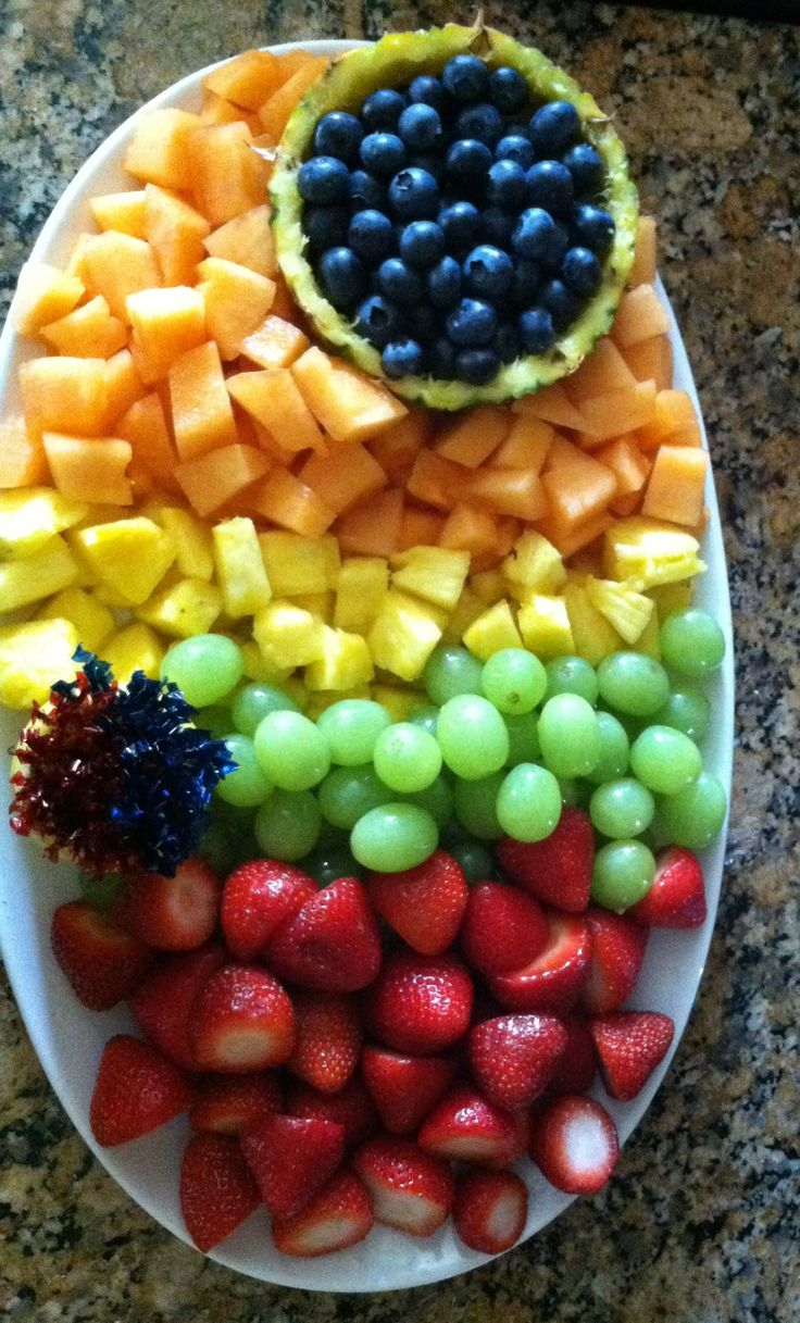 A Fruit PLatter of some sort, it doesn't have to look like this or even have the same fruit. Safeway actually sells pre-made fruit platters from about 12-16 dollars, but it might be cheaper to make your own (just more work!)