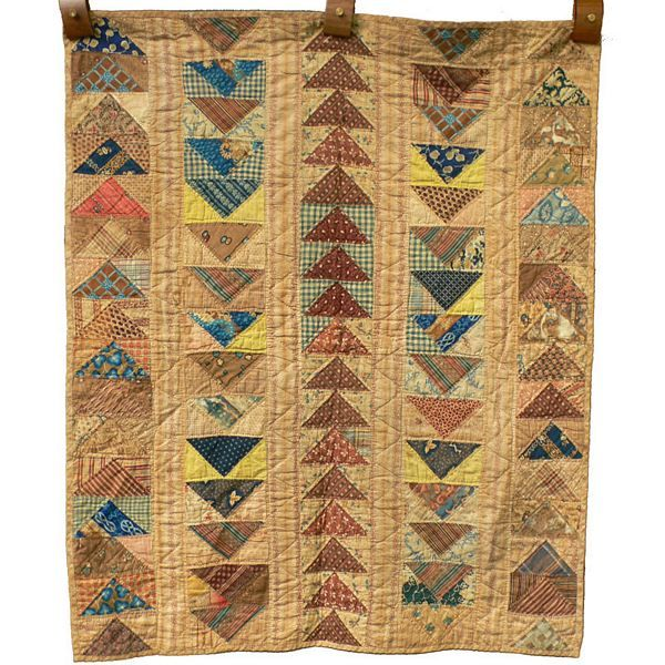 Gorgeous RARE Mid 1800s Antique Flying Geese Rich Scrapbag Crib Sized Wall Quilt, approx 33 x 39"
