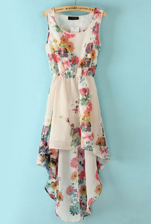 White Sleeveless Bandeau Floral High Low Dress.